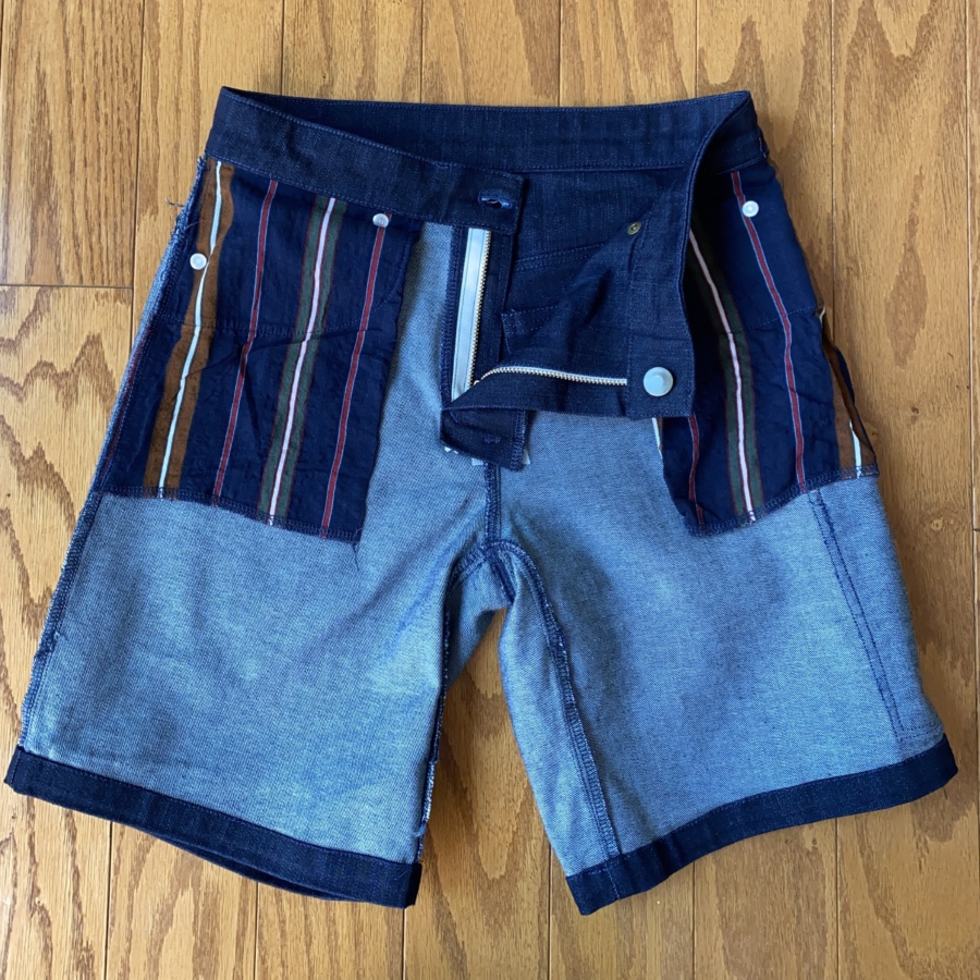 Ginger jean shorts inside out showing extended front pocket bags